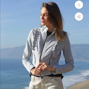 Anthropologie ruffle jacket.  Worn once! Grey/blue